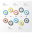 music icons colored line set with replay remote vector image vector image