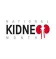 national kidney month concept in flat style vector image vector image