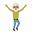 old man happy grandfather hands up character vector image