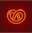pretzel neon icon sweet fancy vector image vector image