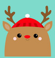 raindeer deer head face red hat nose horns merry vector image vector image