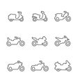 Set line icons of motorcycles vector image vector image