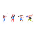 set mix race people with usa flags having fun 4th vector image vector image