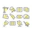 set of building icons with lines vector image vector image