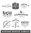 Set of vintage dentist labels vector image