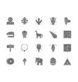 set prehistoric age gray icons tropical palm vector image