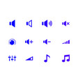 sound icons set audio signs buttons vector image