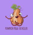 sport pumpkin yoga flat design cartoon vector image