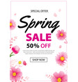 spring sale poster banner with blooming flowers vector image