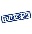 square grunge blue veterans day stamp vector image vector image