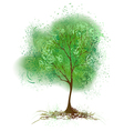 tree with leaves painted with green paint vector image vector image