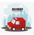 truck delivery urban landscape background vector image