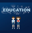 two students with education infographic design vector image vector image