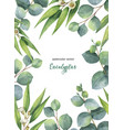 watercolor green floral card with vector image vector image