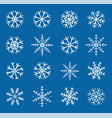 winter hand drawn set of white snowflakes vector image