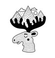 with black white moose head mountains clouds vector image