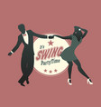 young couple silhouette dancing swing lindy hop vector image vector image