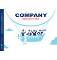 team of people sailing on ship in the sky vector image