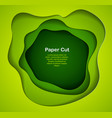 3d abstract green background with paper cut vector image
