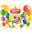 A green monster with a cake above the head vector image vector image