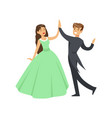 a woman in a ball dress and a man in a frock coat vector image vector image