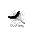 BBQ Party Badge Grilled Sausage label isolated on vector image vector image