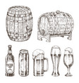 beer cans bottles and glasses vector image vector image