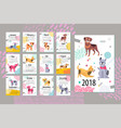 calendar with months and dogs vector image