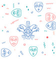 carnival theater masks pattern vector image vector image