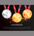 champions promo poster with medals for winners vector image