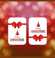 christmas card with red ribbon and pattern vector image vector image