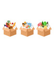christmas donations food boxes vector image vector image