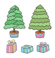 christmas tree and presents collection vector image vector image