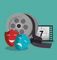 cinema reel with masks and tape vector image vector image
