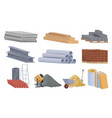 collection construction materials flat vector image