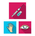 diabetes flat icons in set collection for design vector image