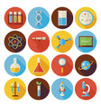 flat science and education circle icons set vector image