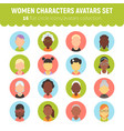 flat women and girls character avatars collection vector image vector image