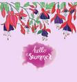 flowers fuchsia on pink background and hello vector image vector image