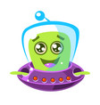 friendly smiling alien in a flying saucer cute vector image vector image