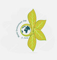 globe and leaf sign world environment day concept vector image vector image