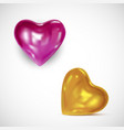 glossy golden and pink hearts - 3d icon vector image