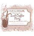 hand drawn iced coffee party invitation card vector image