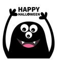happy halloween smiling monster head silhouette vector image vector image