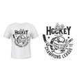 ice hockey puck and stick t-shirt print vector image