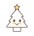 kawaii christmas tree pine decoration cartoon vector image