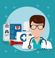 man doctor with medical services icons vector image vector image