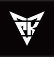 mk logo monogram with back drop shape logo design vector image vector image