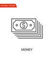 money icon thin line vector image vector image