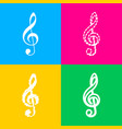 music violin clef sign g-clef treble clef four vector image vector image